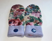 Winter Wool Mittens - Wool Felted Mittens - Sweater Mittens - Fleece Lined Mittens - Womens Size Medium - Floral Wool MIttens