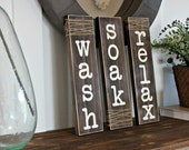 Rustic Bathroom Sign - Farmhouse Decor - Rustic Home Decor - Bathroom Rules - Bathrom Sign - Wash Soak Relax Signs - Wood Bathroom Decor