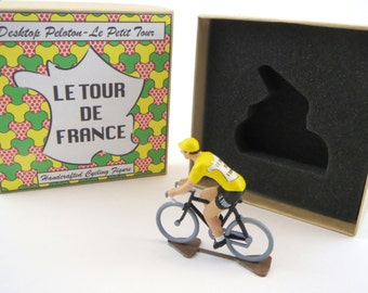 Tour De France Yellow Jersey Metal Cycling Figure  With Gift Box Hand Painted Peloton Cycling Figure