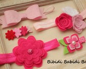Assorted pack - Set of 5 hair accessories- Pink- Felt bow- Felt flowers- girl headbands- girl hair clips - birthday gift - Photo props-