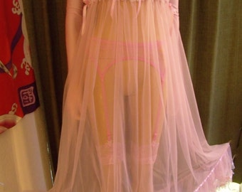 "M-2X; Sissy Gown Pink M L XL XXL 1X 2X 2XL 1XL Bust 37"" - 49"" Lingerie Nightie Nightgown Nylon Tricot 15 denier Adult Baby CD Drag Cosplay"