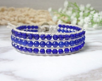 Single Wrap Bracelet Handcrafted 3 lines Blue Leather Beads Jewelry 636