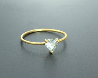 Dainty stone ring Blue topaz ring Alternative engagement ring