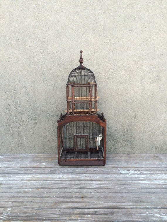 Antique Victorian Wood And Wire Bird Cage With Cupola And