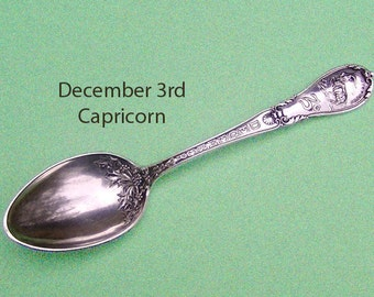 Sterling 1900 Zodiac Spoon / December Capricorn Collector Sterling Astrology Spoon / Mermod and Jaccard / December 3rd Christening Gift
