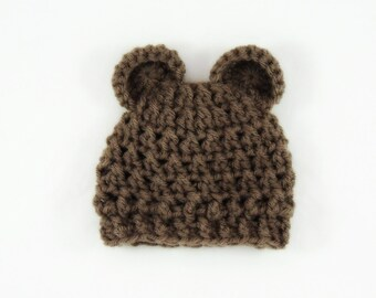 Handmade Newborn Teddy Bear Hat / Ready To Ship / Teddy Bear Photo Prop