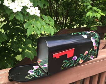 "Hand Painted  rural Mailbox ""Sweet Pea"", design by artist,  Garden decor, Flowers Free shipping"