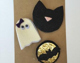 Halloween Bow Set.. Ghost bow...Cat bow...Bat bow