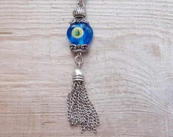 Lucky Blue Evil Eye Tassle Key / Bag Ring