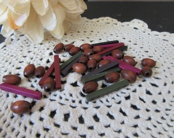 Vintage Destash Wood and Plastic Beads  23  Wood Barrel Beads 5 x 9 mm  and  14  Plastic Bar Beads  15 x 2 mm  Brown Eggplant  Navy Black