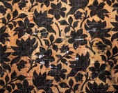 100x140cm Cork leather, green product, Portuguese cork fabric, black flowers printed pattern