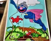 Collectible Wood Puzzle Playskool Super Grover Sesame Street Ctw Vintage