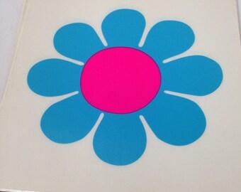 "Hippy Flower Power 6"" Decal Blue"