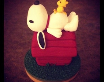 Snoopy on Doghouse Sculpture Peanuts MADE TO ORDER Polymer Clay
