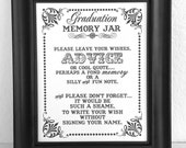 Graduation Memory Jar- Wishes- Guest Book Sign- Graduation Sign - Single Sheet (Style: GRAD JAR)