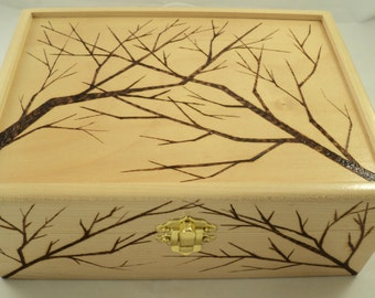 Maple Wood Wooden Woodburned Tree Branch Design Jewelry, Keepsake or Memory Box