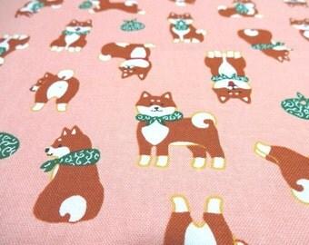 Japanese Fabric Kawaii Dog Shibaken Pink Fat Quarter