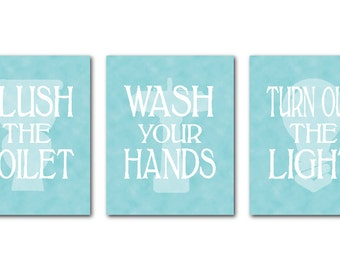Bathroom Wall Art Trio - Typography Art Prints - Flush the toilet Wash your hands Turn out the light - kid's bathroom wall art - wall decor