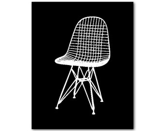 Chair Wall Art - Eames Wire Chair PRINT - Charles & Ray Eames - Mid-Century Modern Furniture - Iconic furniture PRINT - Wall Decor