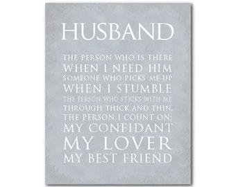 Anniversary Wedding Gift - Husband Typography Print - What is a husband quote - Valentine's Gift - Wall Decor - gift for husband