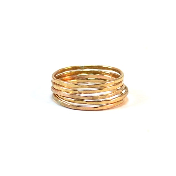 Gold Skinny Stacking Rings - Set of 3 or 5 Stackable Rings - Hammered Statement Rings