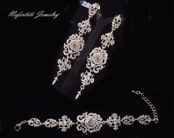 crystal bridal jewelry set, vintage style wedding jewelry, rhinestone bridal jewelry, chandelier bridal bracelet & earrings set, wedding set