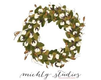 Digital Clip art Cotton Blossom wreath PNG clipart