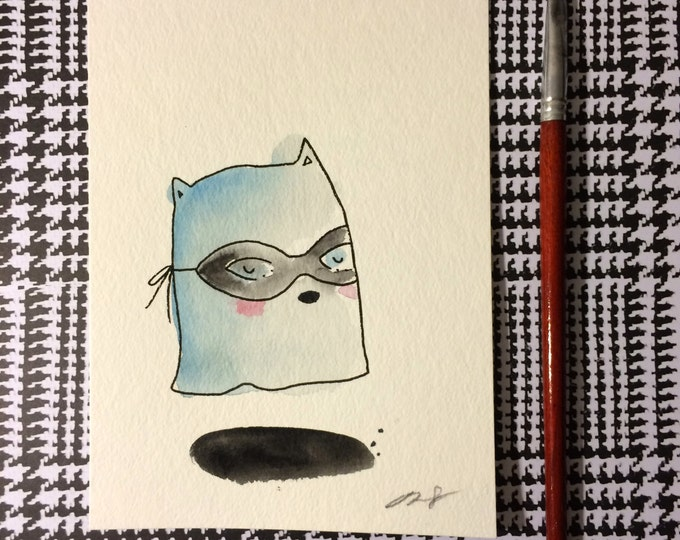 """Halloween Watercolor Painting """"Ghost Cat"""", 5x7 inches decoration."""