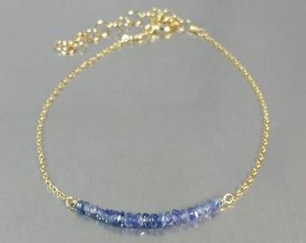 Blue Sapphire Bar Bracelet