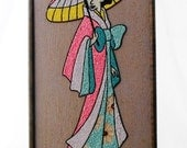 ON SALE 1950's, Asian, Pebble, Wall Hanging, Geisha, Lady, Pebble Art, Gravel, Vintage, Mosaic,  Art, Pink, Turquoise, Blue, Yellow, Rock, P