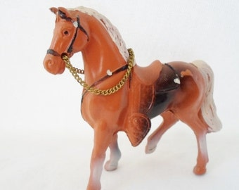 ON SALE Vintage Metal Horse Toy, Child's, Made in Japan, Cowboys, Indians, Western, Saddle, Brown, White