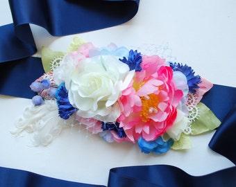 Pink Blue White Bridal Hair Comb, Bridal Flower Sash, Weddings Hair Accessories, Bridesmaids Sash Headpiece, Prom, Bride Pink Peony, Prop