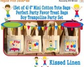 """Fun Trampoline Park Gym Jump Play Bounce Birthday Party Treat Favor Gift Bags Mini 6""""x6"""" Natural Cotton Tote Children Kids Girls Boys"""