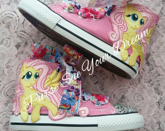 MY LITTLE PONY Swarovski Crystal Converse Shoes My Little Pony Party Fluttershy My Little Pony birthday Fluttershy Outfit Shoes Bling Shoes