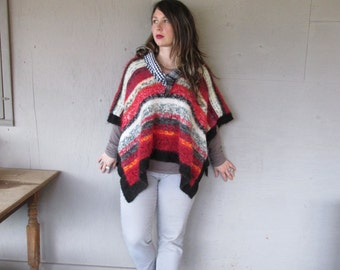 Eco upcycled clothing Funky one size Boho poncho Wearable Art mohair blend winter Poncho recycled Lagenlook Artsy cape by LillieNoraDryGoods