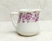 Restaurant China Individual Creamer Restaurant Ware Mini Creamer Mini Syrup Pitcher Burgundy Purple floral Railroad China