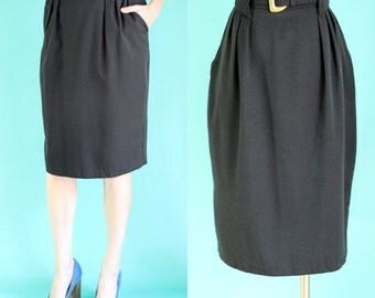 Vintage 80s Black Skirt - Belted Skirt with Pockets - High Waisted Skirt - Pleated Pencil Skirt - Knee Length Midi Skirt - Size Medium