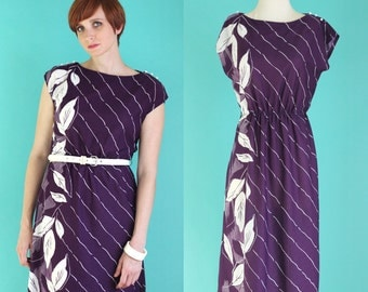 Vintage 80s Plum Dress - Purple and White Striped Dress - Leaf Print Midi Dress - Sleeveless Summer Tropical Print Dress - Size Medium