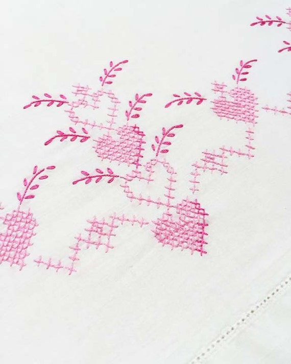 Vintage Cross Stitch Pillowcase with Pink Hearts Embroidery