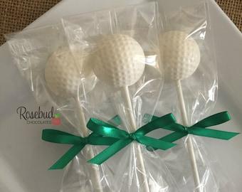 GOLF BALL Chocolate Lollipops Party Favors Sports Decor Decorations Wedding Day Anniversary Retirement Birthday Golfer Golfing Gifts Balls