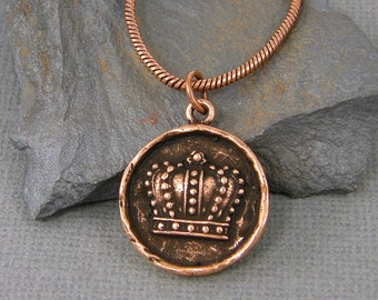Copper Crown Necklace Antique Copper Crown Pendant Necklace Copper Crown Charm Necklace Medallion Royalty Regal Copper Jewelry |NU4-1