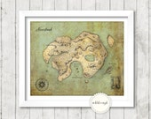 Peter Pan - Neverland Map - Art Print Poster - 8 x 10 inch - Instant Download