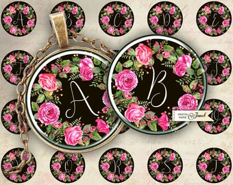 Sweet Initials - black - circles image - digital collage sheet - 1 x 1 inch - Printable