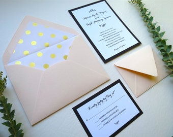 Blush and Gold Polka Dot Wedding Invitation Set 4 Pieces- Style 060