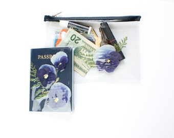 Clear Travel Pouch and Passport Cover with Real Pressed Flowers