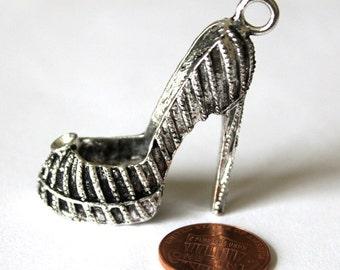 2 Antique Silver High Heel, Platform Shoe Charms/Pendants