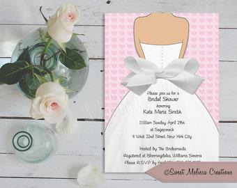 Pink Hearts & Bow Bridal Shower Invitation - DIY - Print at home -Sweet Melissa Creations