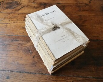 French Book Collection, Instant Library, 5 Shabby Books, Vintage Paper Supply, DIY, Rustic Wedding Decor, Book Bundle, Boho Antique Books