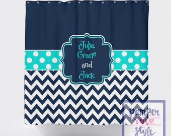 Navy and Aqua Shower Curtain - Personalized Shower Curtain - Brother and Sister Custom Bath Curtain