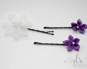 Flower Bobby Pins - Purple and White Bobby Pins-Wedding Hair Pins-Purple Wedding Hair Pins-Bridal Hair Pins-Purple and White Flower Bobbys